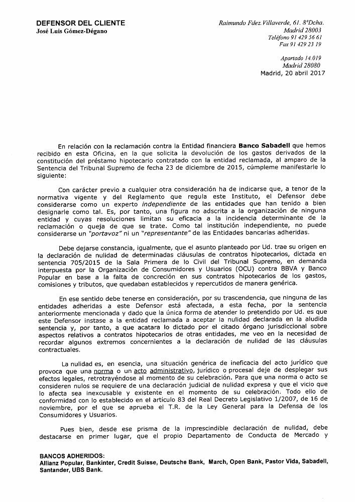 Devoluci n dinero clausula suelo banco sabadell p gina for Devolucion dinero clausula suelo
