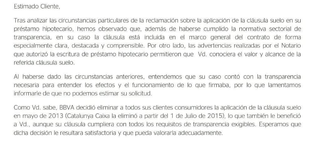 Denegada devoluci n bbva catalunya caixa josportal for Clausula suelo josportal
