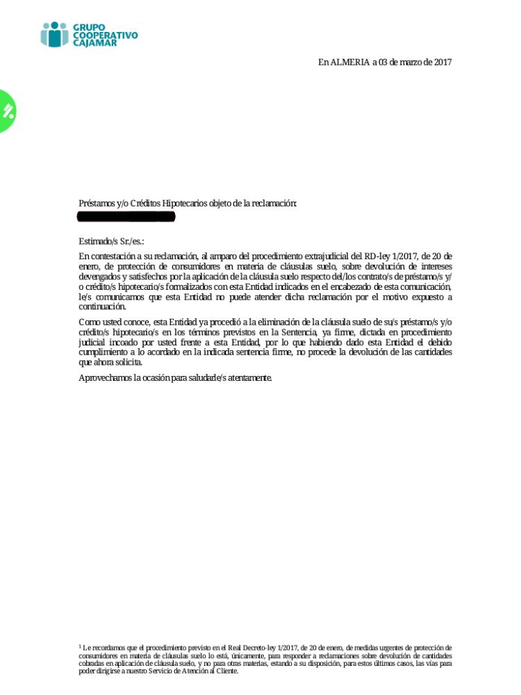 Respuesta Clausula Suelo Cajamar P Gina 3 Josportal