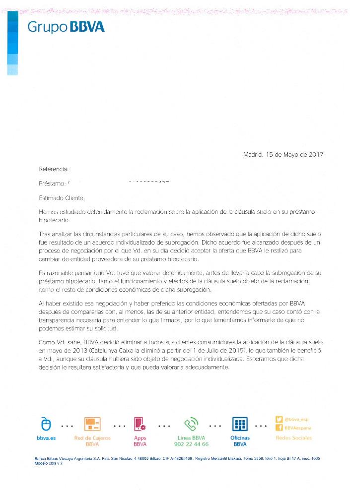 Carta negativa devolucion suelo bbva josportal foro for Reclamacion devolucion clausula suelo